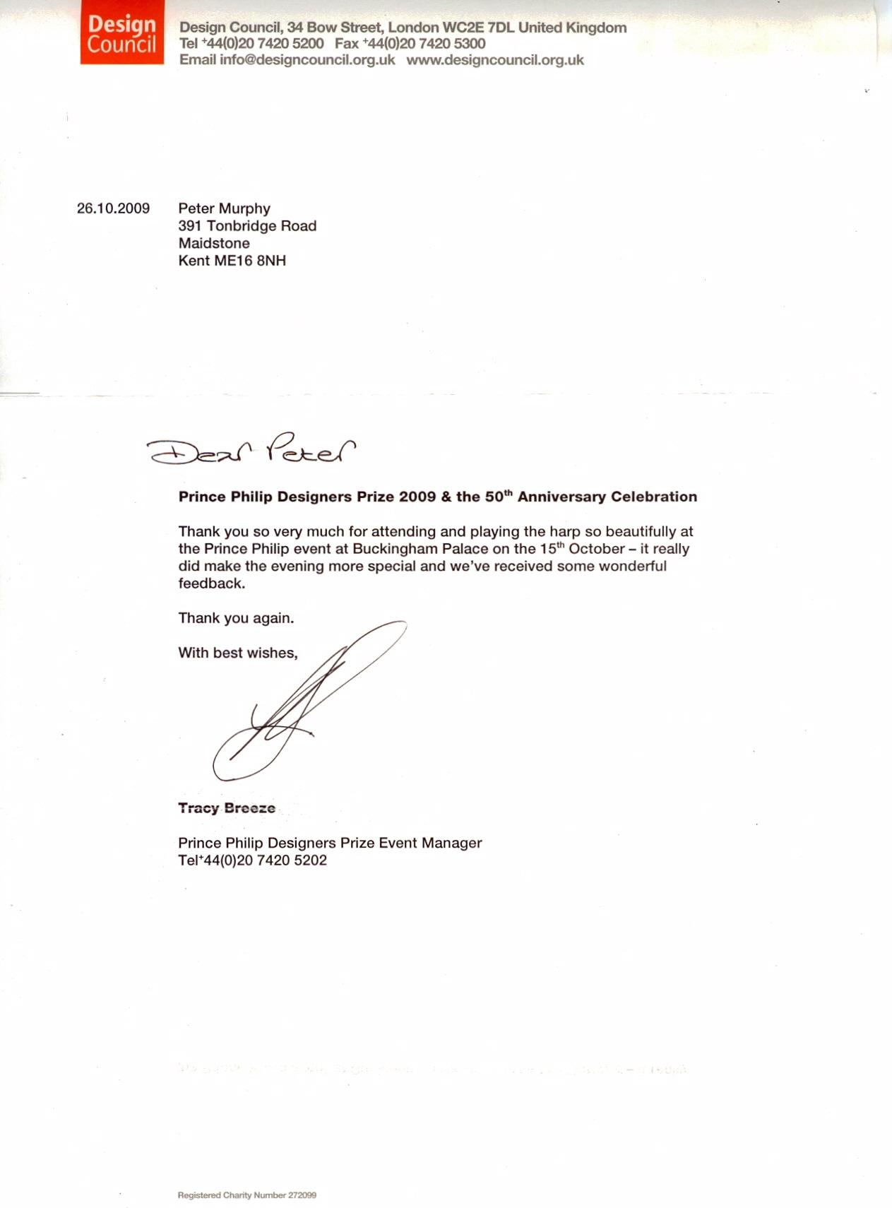Peter Murphy harpist appraisals – Letter of Appraisal